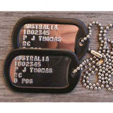 DOG TAGS, EMBOSSED U.S. STYLE IDENTIFICATION TAGS